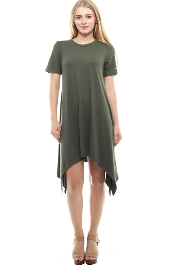 Short Sleeve A-Line Trapeze Tunic Dress - BodiLove | 30% Off First Order - 3 | Olive2
