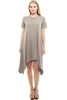 Short Sleeve A-Line Trapeze Tunic Dress - BodiLove | 30% Off First Order - 7 | Taupe1