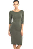 3/4 Sleeve Knit Bodycon Midi Cocktail Dress - BodiLove | 30% Off First Order - 3 | Olive