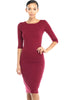 3/4 Sleeve Knit Bodycon Midi Cocktail Dress - BodiLove | 30% Off First Order | Burgundy