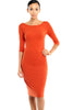 3/4 Sleeve Knit Bodycon Midi Cocktail Dress - BodiLove | 30% Off First Order - 5 | Rust