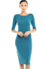 3/4 Sleeve Knit Bodycon Midi Cocktail Dress - BodiLove | 30% Off First Order - 9 | Teal