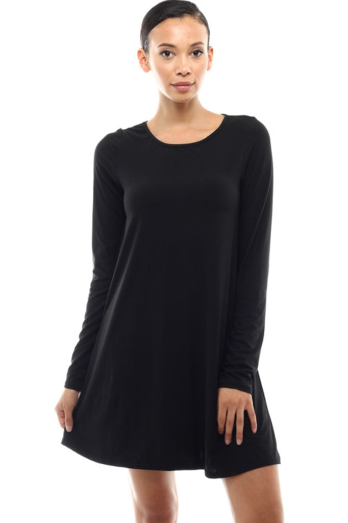 Oversized Long Sleeve Tunic Dress - BodiLove | 30% Off First Order - 1 | Black2