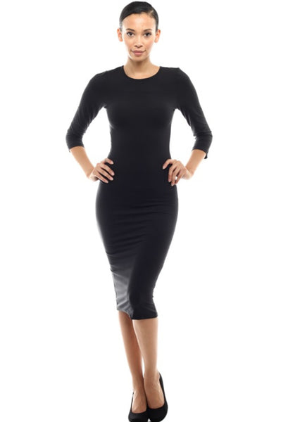 3/4 Sleeve Knit Bodycon Midi Cocktail Dress - BodiLove | 30% Off First Order - 1 | Black