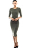 3/4 Sleeve Knit Bodycon Midi Cocktail Dress - BodiLove | 30% Off First Order - 7 | Olive1