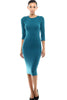 3/4 Sleeve Knit Bodycon Midi Cocktail Dress - BodiLove | 30% Off First Order - 11 | Teal1
