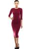 3/4 Sleeve Knit Bodycon Midi Cocktail Dress - BodiLove | 30% Off First Order - 5 | Wine