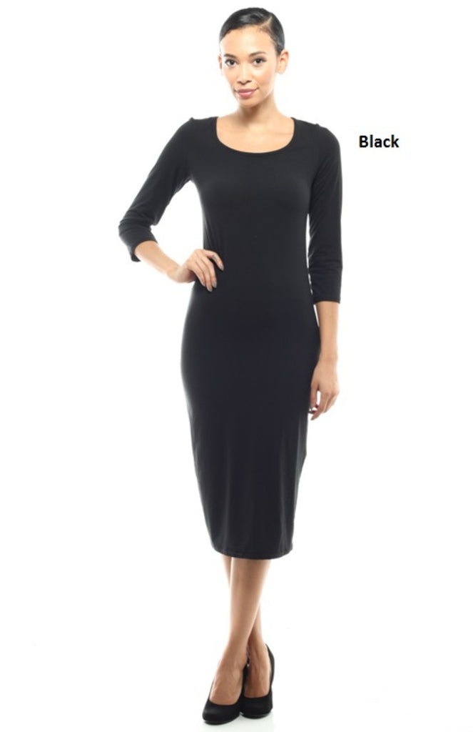 Midi-Length Stretch Scoop Neck Dress - BodiLove | 30% Off First Order - 1