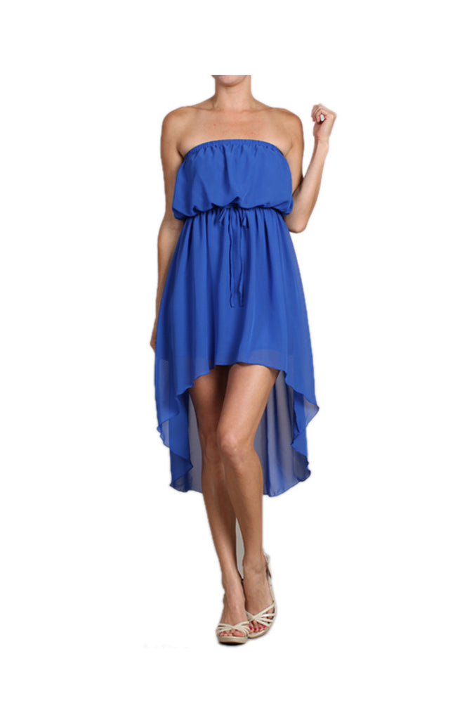 Strapless Chiffon Hi-Low Sun Dress | 30% Off First Order | Royal Blue