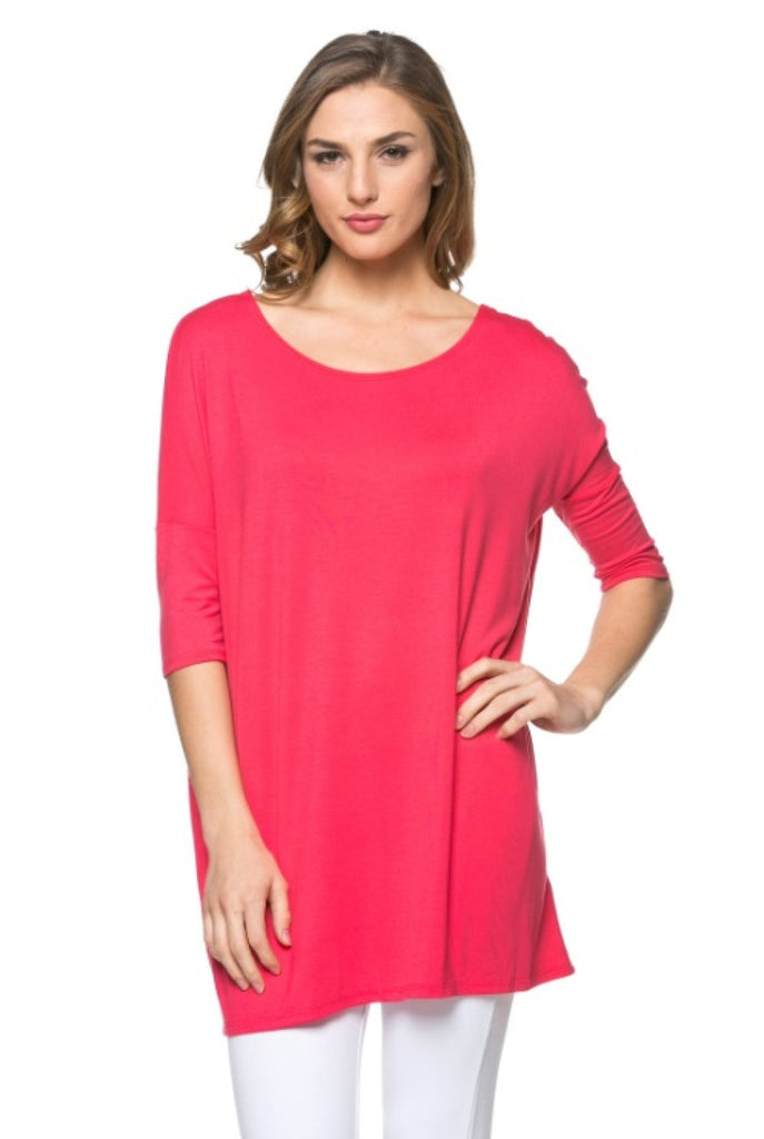 Oversized Half Sleeve Tunic Dress | 30% Off First Order | Coral