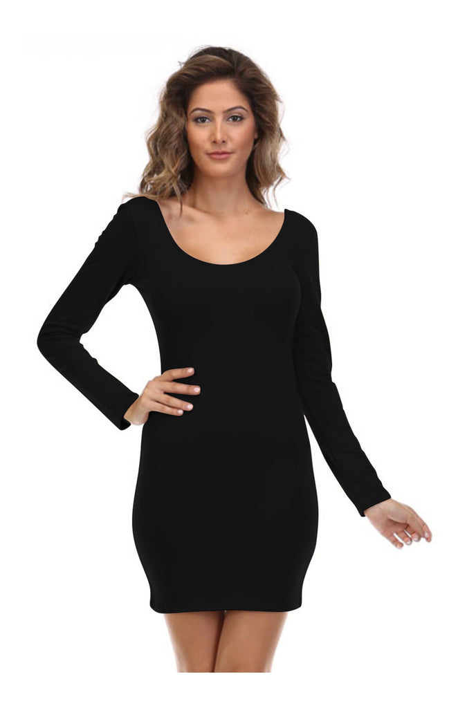 Long Sleeve Scoop Neck Bodycon Dress - BodiLove | 30% Off First Order  - 1