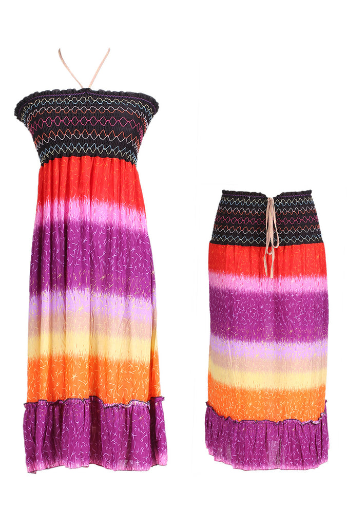 Multi-Colored Rainbow Design 3-In-1 Summer Beach Tube Dress/Cover-up - BodiLove | 30% Off First Order  - 3