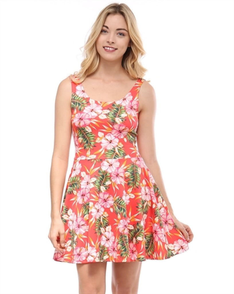 Sleeveless Floral Print Fit & Flare Skater Dress | 30% Off First Order | Peach & Green