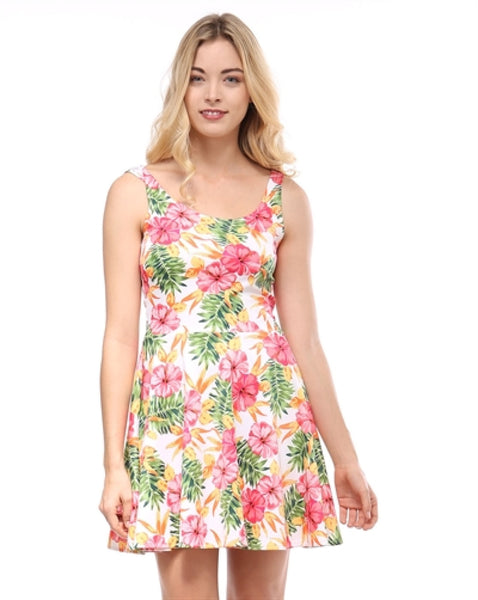 Sleeveless Floral Print Fit & Flare Skater Dress | 30% Off First Order | White