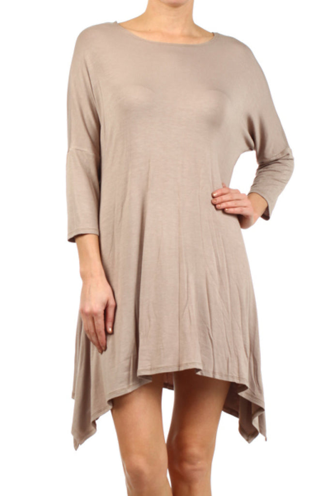 3/4 Sleeve A-Line Tunic W/ Trapeze Hem - BodiLove | 30% Off First Order  - 5