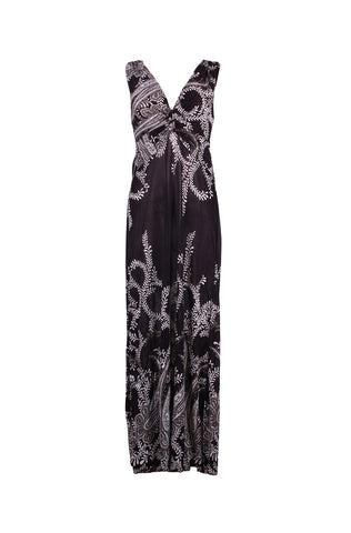 Exotic Paisley Knotted Maxi Beach Dress