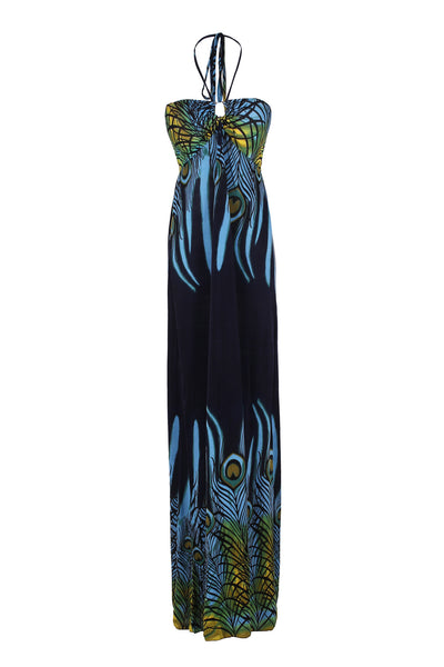 Exotic Peacock Feather Design Maxi Beach Dress - BodiLove | 30% Off First Order  - 1