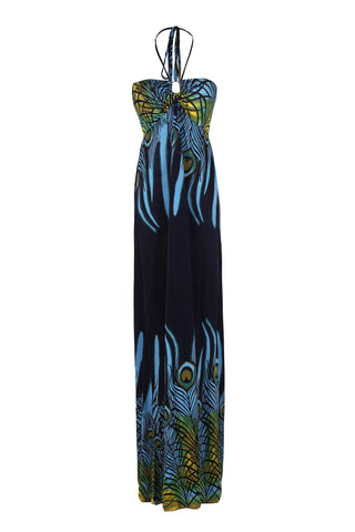 Exotic Peacock Feather Design Maxi Beach Dress