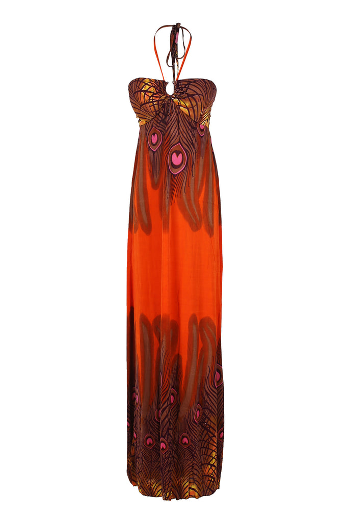 Exotic Peacock Feather Design Maxi Beach Dress - BodiLove | 30% Off First Order  - 7