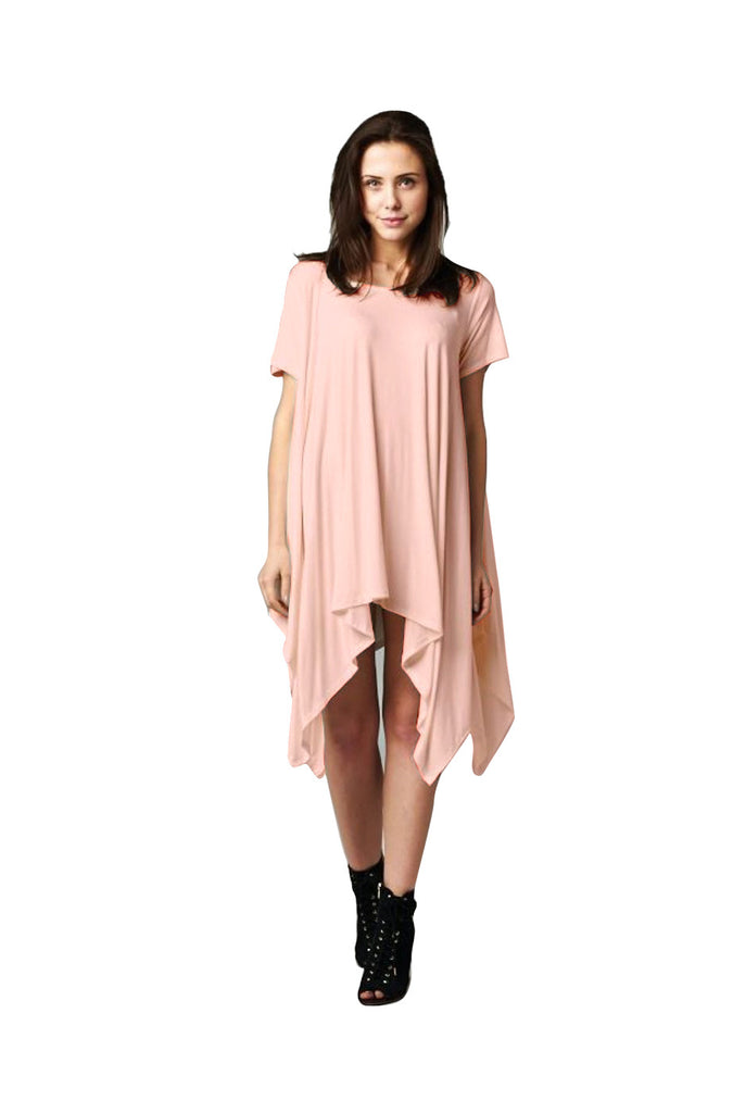 Short Sleeve A-Line Trapeze Tunic Dress | 30% Off First Order | Peach1