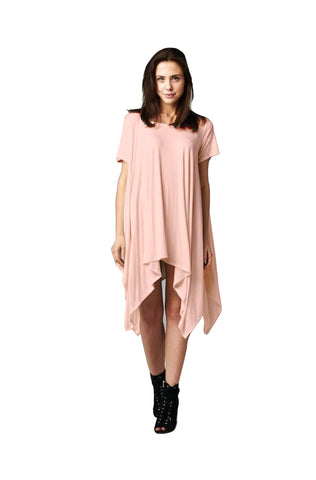 Short Sleeve A-Line Trapeze Tunic Dress