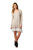 Oversized Long Sleeve Lace Trimmed Tunic Dress | 30% Off First Order | Taupe
