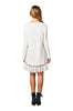 Oversized Long Sleeve Lace Trimmed Tunic Dress | 30% Off First Order | Ivory