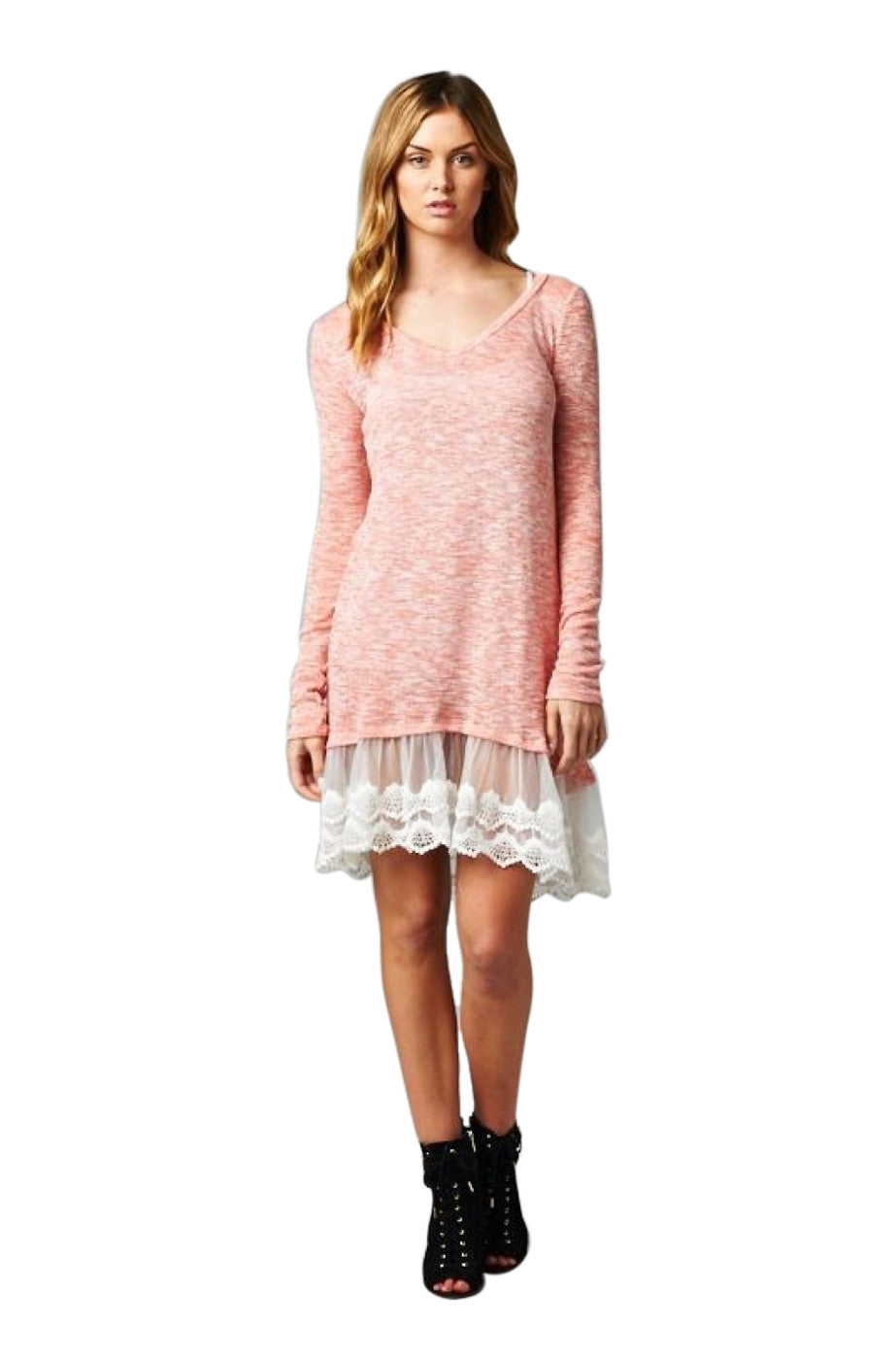 54bfcd256165b Oversized Long Sleeve Lace Trimmed Tunic Dress | 30% Off First Order | Peach
