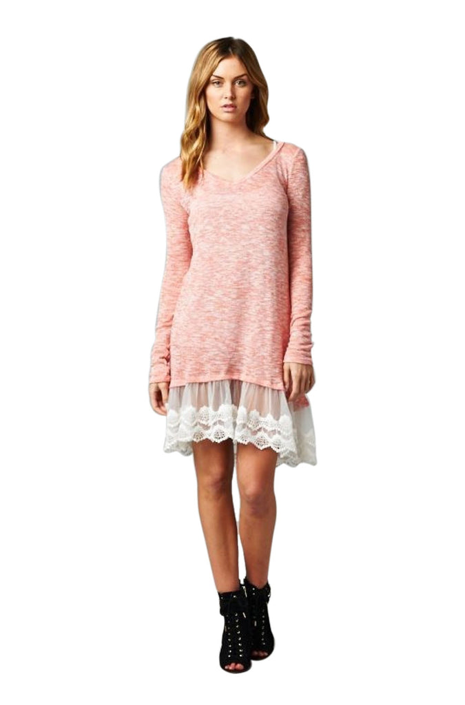 Oversized Long Sleeve Lace Trimmed Tunic Dress | 30% Off First Order | Peach