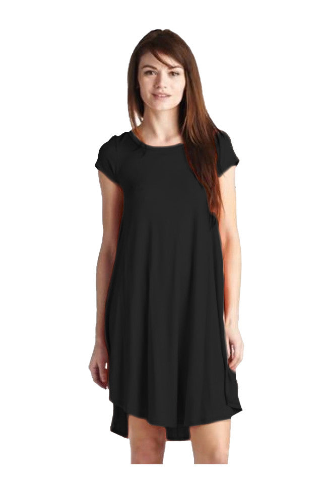 Oversized Cap Sleeve A-Line Tunic Dress | 30% Off First Order | Black1