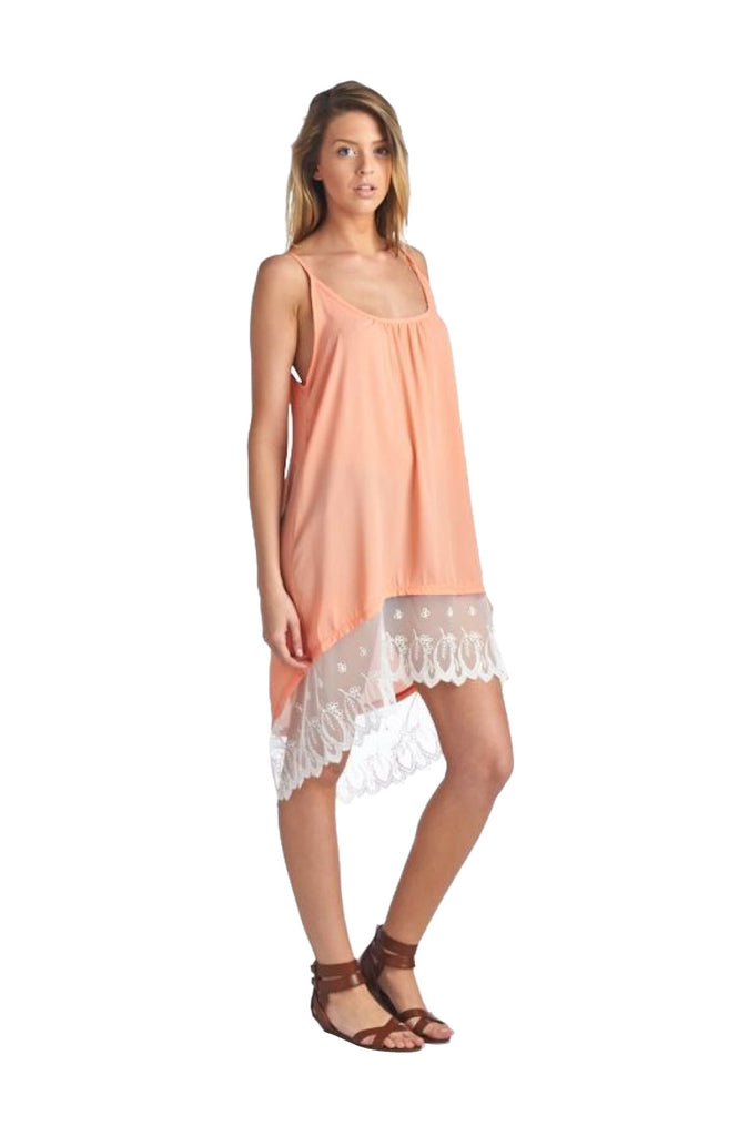 Spaghetti Strap Lace Trimmed Slip Dress | 30% Off First Order | Peach