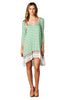 3/4 Sleeve Striped Lace Trimmed Tunic Dress | 30% Off First Order | Mint-Stripes