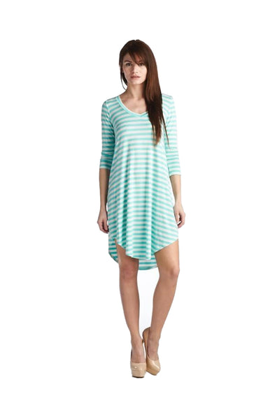 Oversized 3/4 Sleeve Striped Tunic Dress | 30% Off First Order | Mint & White