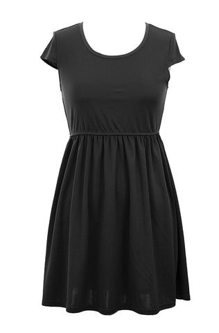 Elastic Waist Scoop Neck Dress