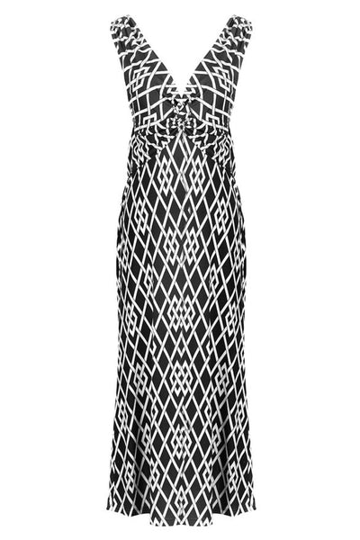 Diamond Print Knotted Summer Holiday Resort Beach Maxi Dress - BodiLove | 30% Off First Order  - 1