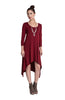 3/4 Sleeve A-Line Trapeze Tunic Dress - BodiLove | 30% Off First Order  - 9