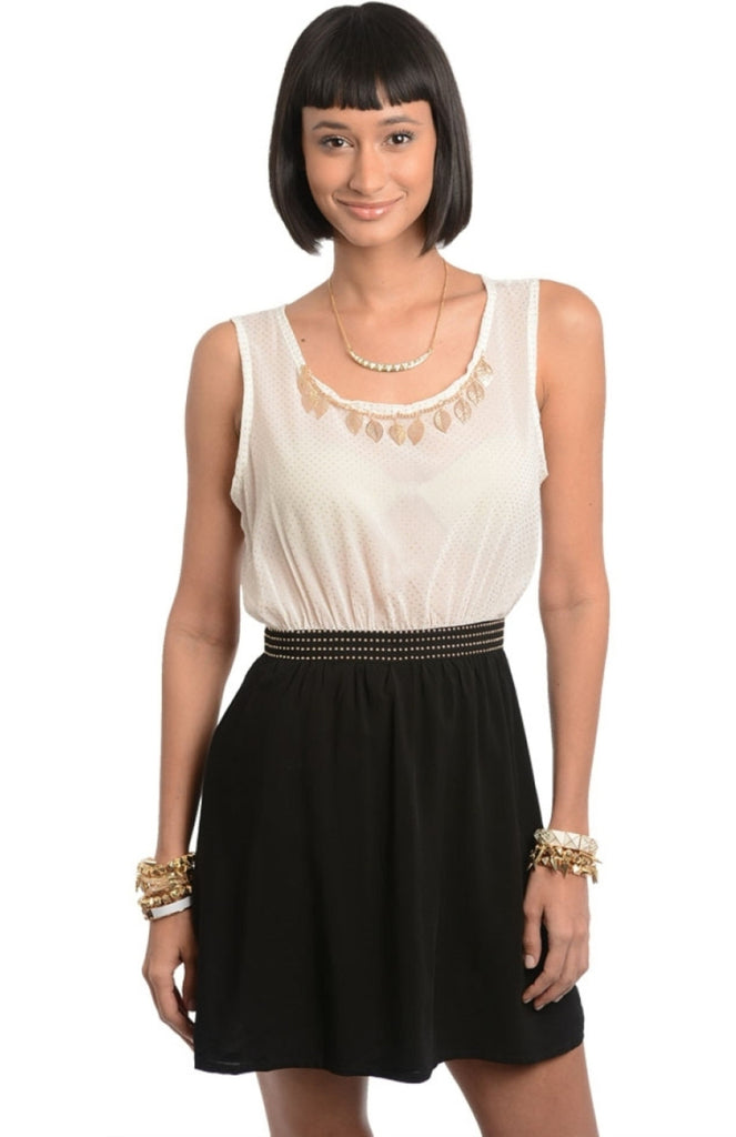 Two Tone Embellished Shift Dress - BodiLove | 30% Off First Order  - 1