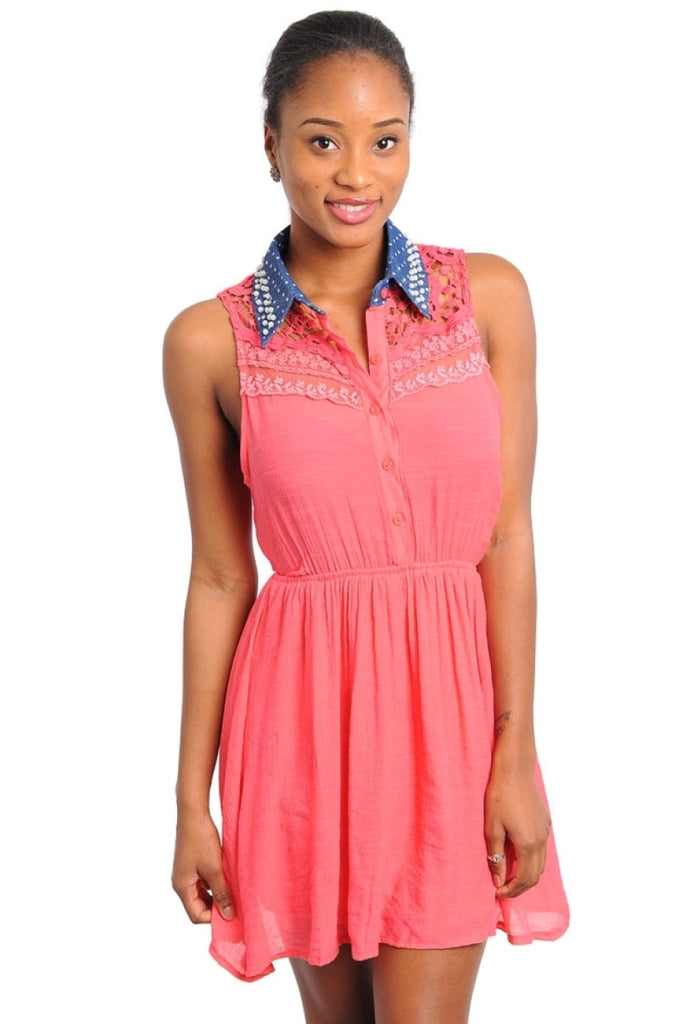 Polka Dot Embellished Collar Dress - BodiLove | 30% Off First Order  - 3