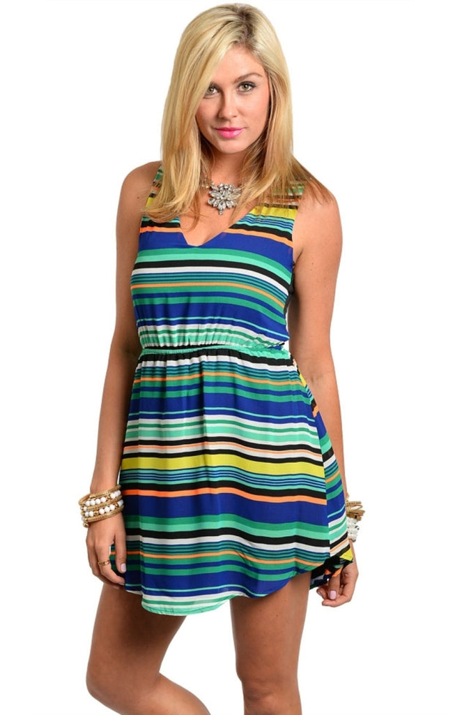 Sleeveless Striped Dress with Back Cutout - BodiLove | 30% Off First Order  - 1