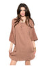 3/4 Sleeve Chiffon Blouse Dress | 30% Off First Order | Mocha
