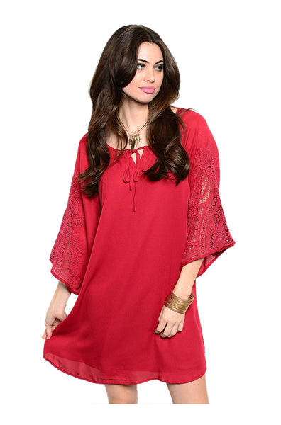 3/4 Sleeve Chiffon Blouse Dress | 30% Off First Order | Burgundy
