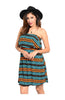 Multicolored Strapless Dress W/ Flounce Neckline - BodiLove | 30% Off First Order  - 3