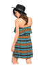 Multicolored Strapless Dress W/ Flounce Neckline - BodiLove | 30% Off First Order  - 4