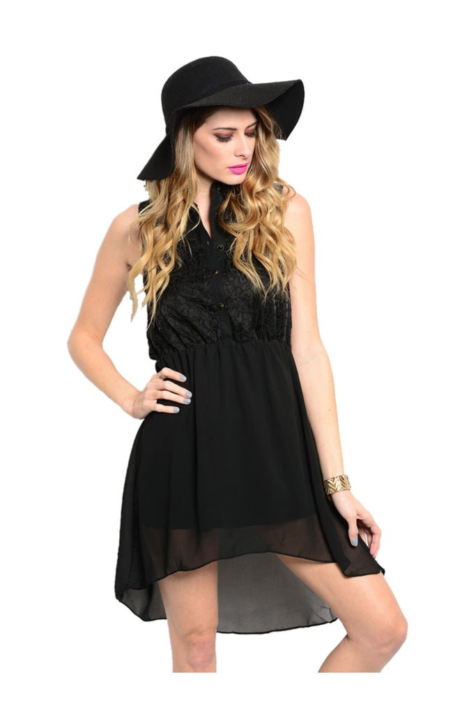Chiffon Button Down Hi Low Blouse Dress - BodiLove | 30% Off First Order  - 1