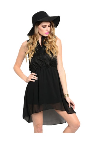 Chiffon Button Down Hi Low Blouse Dress