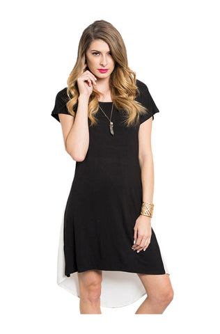 Short Sleeve Hi-Low T-Shirt Dress W/ Chiffon Back