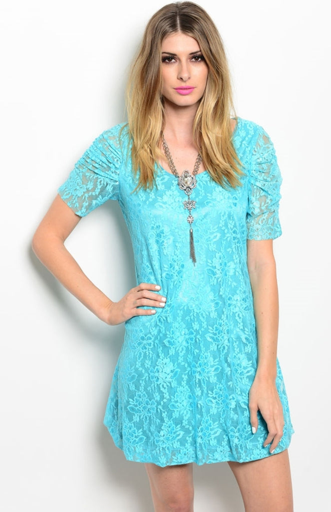Short Sleeve A-Line Floral Lace Cocktail Dress - BodiLove | 30% Off First Order  - 3