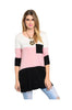 3/4 Sleeve Color Blocked Oversized Tunic | 30% Off First Order | Light Pink & Black