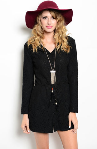 Long Sleeve Lace Button Down Short Dress