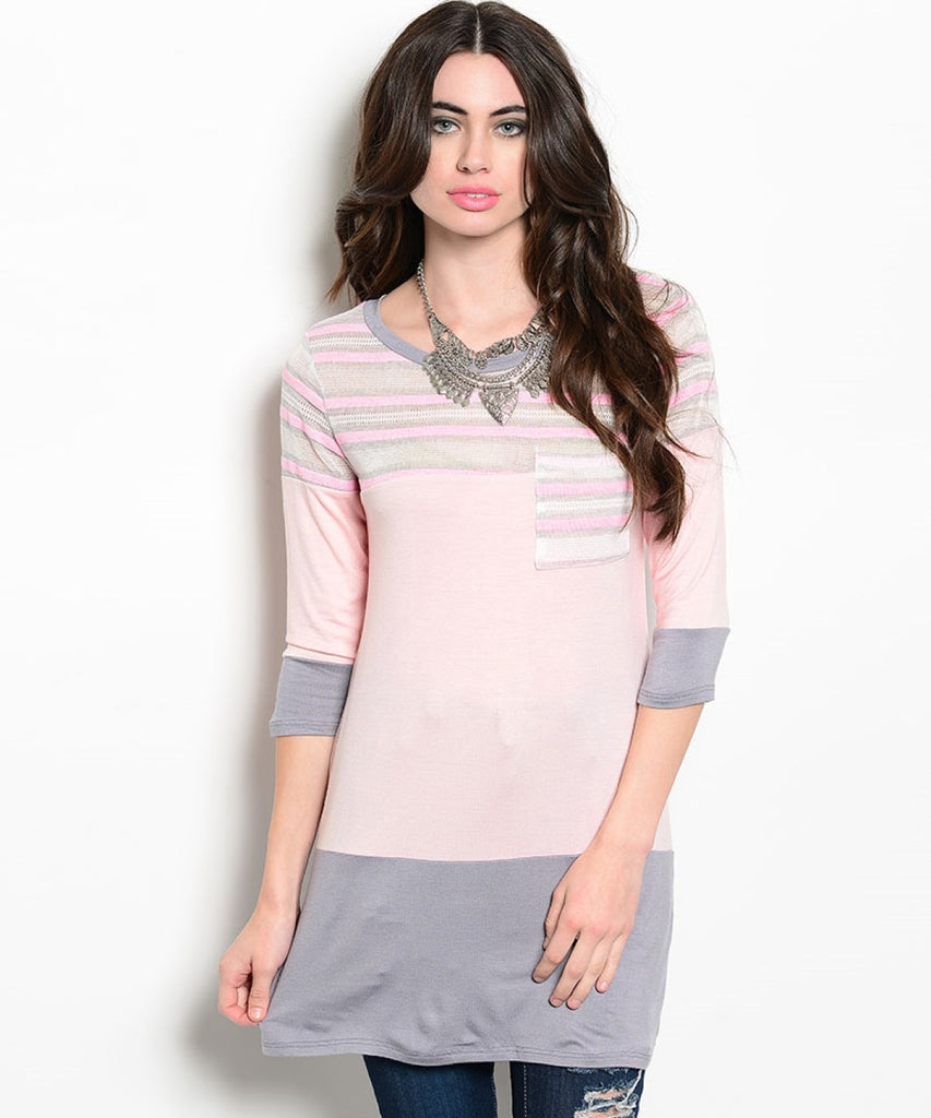 3/4 Sleeve Color Blocked Oversized Tunic | 30% Off First Order | Peach & Gray